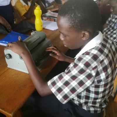 Blind student in Uganda